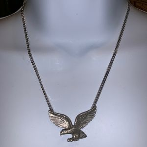 Stainless Steel Silver-Tone Bird Eagle Necklace